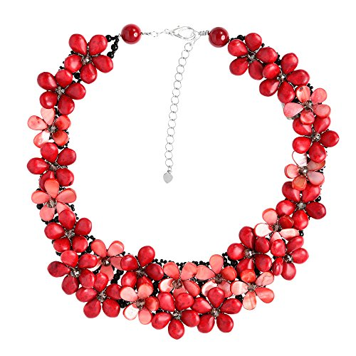 AeraVida Love Red Daisy Floral Cluster Reconstructed Red Coral Handmade Statement Necklace by AeraVida