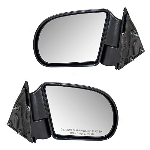 Driver and Passenger Manual Side View Mirrors Textured Replacement for Chevrolet GMC Isuzu Pickup Truck SUV 15193316 15172864