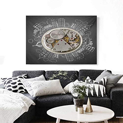 Clock Canvas Wall Art for Bedroom Home Decorations an Alarm Clock Print with Buildings and Clouds Around It Checking The Time Art Art Stickers 48