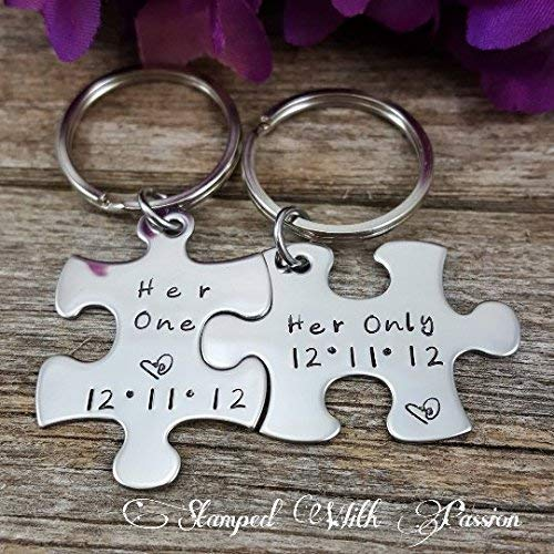 Her One and Her Only Puzzle Piece Keychain Set With Date - Lesbian Couples  - LGBT - Valentines Gift - Couples - Gift for Her - Anniversary key chains