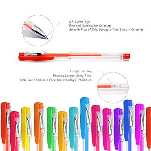 Gelmushta 72 Unique Colors (No Duplicates) Gel Pens Set for Adult Coloring Books with Case Photo #4