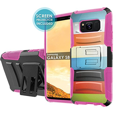 - Samsung Galaxy S8 Phone Case [NakedShield] [Black/ Hot Pink] Defender Combat Armor Case [KickStand] [Holster] [Screen Protector] - [Color Bars] for Samsung Galaxy [S8] [5.8