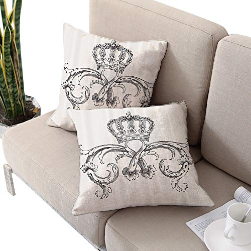 Medieval Decor Collection Square futon cushion cover ,Royal Crown Vintage Curves King Palace Ribbon Monochrome Retro Art Cedar and White W24