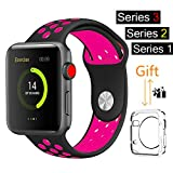 For Apple Watch Band, MOOLLY Soft Silicone Replacement iWatch Band Sport Wrist Strap for Apple Watch Band Series 3 Series 2 Series 1 Sport& Edition (LK38MM-Black/Rose)