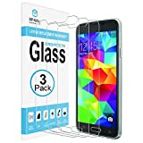 [3-Pack] MP-MALL Screen Protector for Samsung Galaxy S5, [Tempered Glass] with Lifetime Replacement