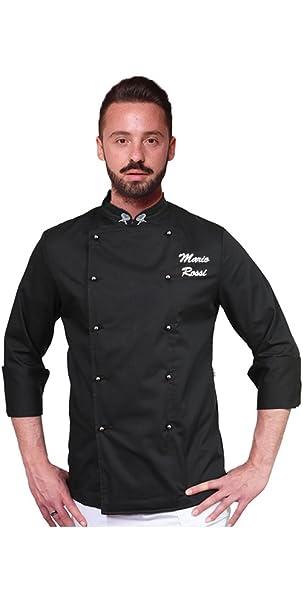 TCD Giacca Nera Casacca da Chef Cuoco Personalizzata con Ricamo Nome   Amazon.it  Abbigliamento b49c0f2fad38