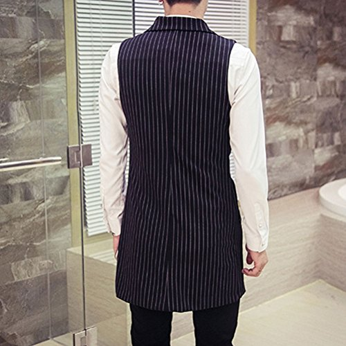 XXXL 4XL Zhhlaixing Sleeveless Long 5XL XXL negro Mens Waistcoat Suit Fit Cómodo Slim Size Vest 1B7qPwFA1