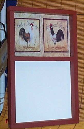 Memo Board Rooster country Red Home Handcrafted Wood Message erasable Marker ()