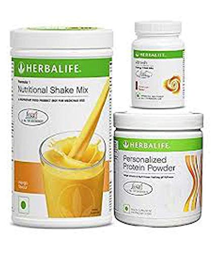 Herbalife Weight Loss Program Kit - Natural Organic Diet Meal Replacement Package for Men and Women - Nutritional Formula 1 Shake Mango - Herbal Protein Powder  - Afresh Energy Drink Mix Lemon by Herbalife