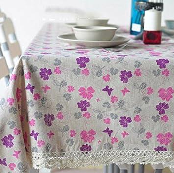 BLUELSS Parte romántica boda Mantel púrpura patrón floral tapas de mesa rectangular de borde de puntilla de algodón Lino Manteles Nueva ,como imagen,140x250cm.: Amazon.es: Hogar