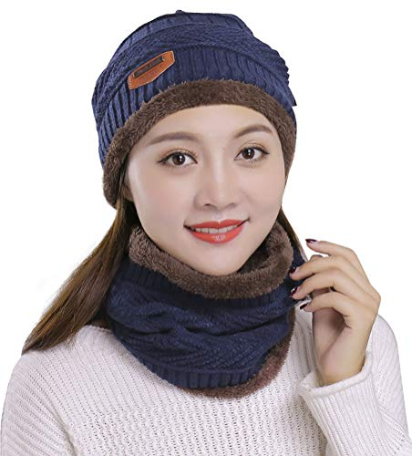 e Winter Hat Scarf Set Slouchy Warm Snow Knit Skull Cap Navy ()