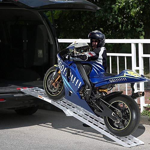 Foldable 750 Lb Capacity Single Yaheetech YT-00034277 Silver Large 7.5 ft Aluminum ATV Motorcycle Loading Ramp