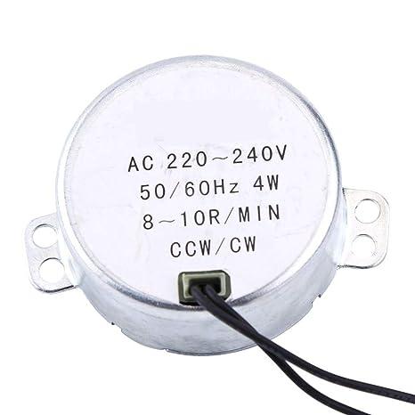 10rpm 50KTYZ AC 220V 6-10w Moteur Synchrone /à Aimants Permanents CW//CCW Moteur Electrique /à Couple Elev/é /à Faible Vitesse