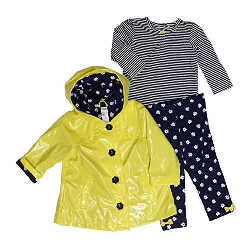 Little Me Girls' 3-piece Jacket Set, Yellow with Daisies (4T)