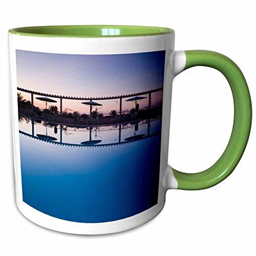 3dRose Danita Delimont - Hotels - Tunisia, Jerid Area, Tozeur, Hotel El Mouradi Pool-AF47 WBI0654 - Walter Bibikow - 11oz Two-Tone Green Mug (Hotel El Mouradi Pool)