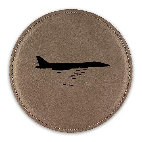 B1 Bomber Drink Coaster Leatherette Round Coasters lancer strategic bomber - Light Brown - Set of Six Round Coasters ()