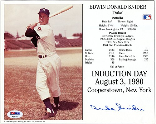 Duke Snider Los Angeles Dodgers Autographed 8x10 Photo - Certified Authentic