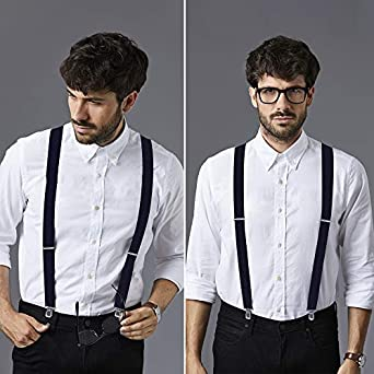 Suspenders for Men Adjustable X Back Suspenders with 4 Clips Wide Braces /& Heavy Duty