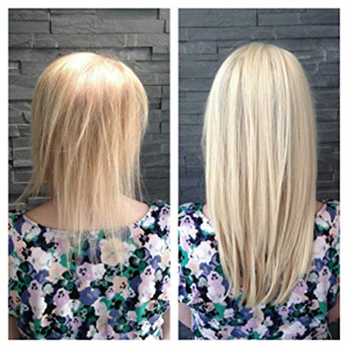 Full Shine Crown Blonde Human Hair Topper 18inches Silky Straight Hidden Crown Hair Extensions Invisible Topper For White Women Color #60 White Blonde Hair Piece Manual Soft Mono Base(9.5cm &10cm)