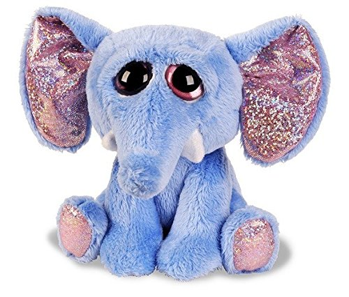 Suki Gifts Lil Peepers Fun Elsa Elephant Plush Toy with Pink Sparkle Accents (Medium, Blue) 11102
