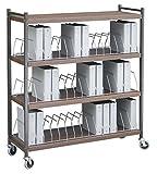 Extra Wide Vertical Open Chart Rack 4 Shelves 45 Binder Capacity (Woodgran)