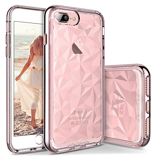 BENTOBEN Case for iPhone 8 Plus/7 Plus 5.5 Inch, Super Slim Sleek Girly Shock Proof Non Slip Protection Soft TPU PC Bumper Girls Women Phone Covers for Apple iPhone 8+/7+ Plus, Rose Gold