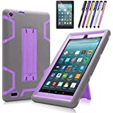 Fire 7 2017 Case, Mignova Heavy Duty Hybrid Protective Case Build in Kickstand for All-New Fire 7 Tablet (7th Generation 2017 Release) + Screen Protector Film and Stylus Pen (Gray/Purple)