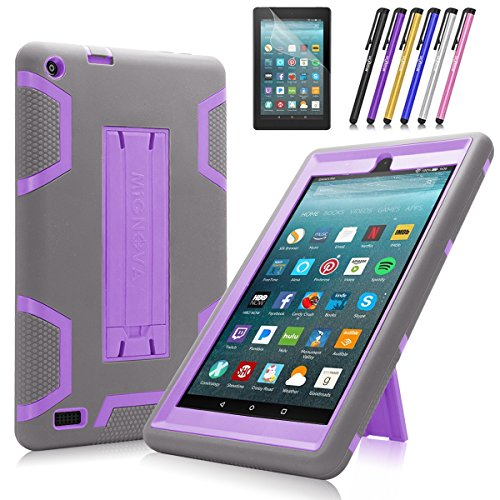 Fire 7 2017/2019 Case, Mignova Heavy Duty Hybrid Protective Case Build in Kickstand for All-New Fire 7 Tablet (7th /9th Generation 2017/2019) + Screen Protector Film and Stylus Pen (Gray/Purple)