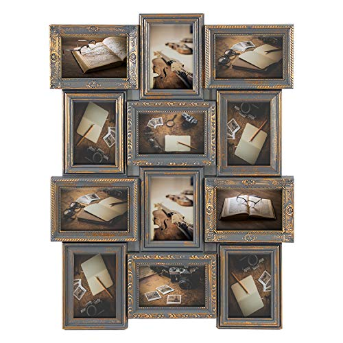 Bronze Fall Wall Frame - Jerry & Maggie - Photo Frame 23X18 Gray Gold Finish Curved PVC Picture Frame Selfie Gallery Collage Wall Hanging for 6x4 Photo - 12 Photo Sockets - Classic Loyalty Style - Wall Mounting Design