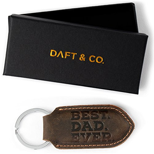 Daft & Co. Premium Genuine Leather Keychain & Gift Best Dad Ever (Brown) Best Dad Gifts Ever