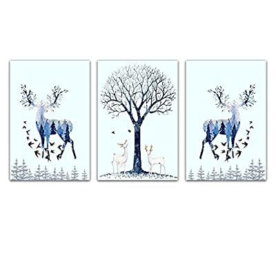 Majestic Handicraft, 3 Panel Animal Watercolor Style Painting of Floral Deer and The Trees x 3 Panels, Classic Artwork