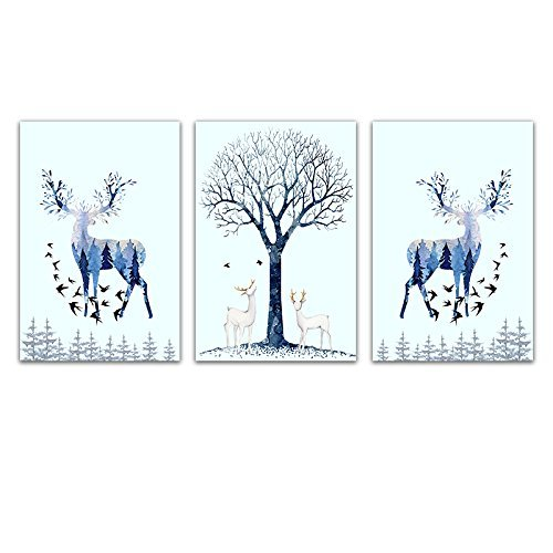 3 Panel Animal Watercolor Style Painting of Floral Deer and the Trees Gallery x 3 Panels