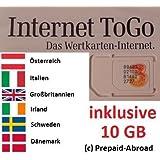 Prepaid Daten Sim Karte (mobiles Internet) für Österreich, Italien, Schweden, Dänemark, Großbritannien und Irland mit 10 GB Guthaben