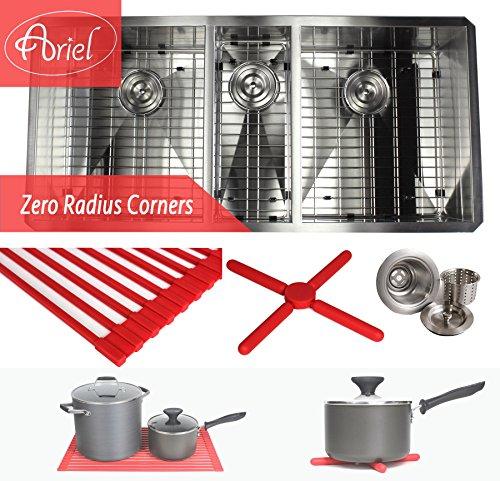 Ariel 42 Inch Zero Radius Design 16 Gauge Undermount Triple Bowl Stainless Steel Kitchen Sink Premium Package by Ariel Bath