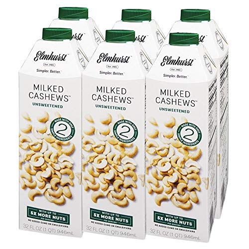 Elmhurst - Unsweetened Cashew Milk - 32 Fluid Ounces (Pack of 6). Only 5 Ingredients, 5X the Nuts, Non Dairy, No Added Sugar, Gums or Emulsifiers, Vegan