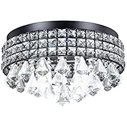 Top Lighting Antique Black Finish Iron Shade Crystal Flush Mount Chandelier