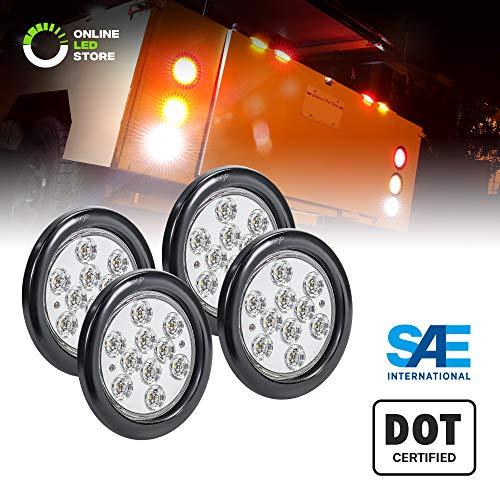 4pc 4″ White Round LED Reverse Trailer Tail Light Kit [DOT FMVSS 108] [SAE (2) R] [Grommet & Plug Included] [IP67 Waterproof] [Back Up Signal] Trailer Lights for Boat Trailer RV Trucks