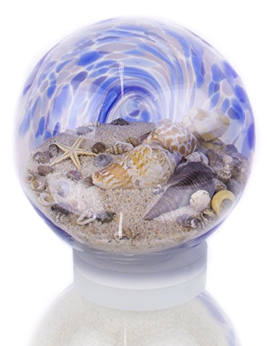 Handcrafted Blue Water Sandglobe, Large (Round Breeze Sea Glass)