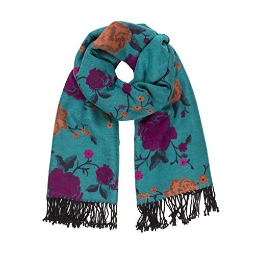 Melifluos Women Scarves Floral Design Elegant Long Cashmere Feeling Shawl Wrap (Tiffany - Spain Tiffanys