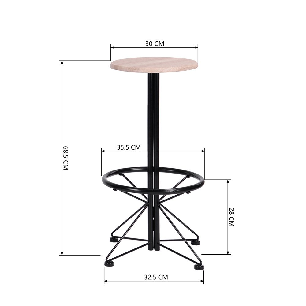 FurnitureR Breakfast Table Set 3pcs Bar Set 2 High Bar Stools and 1 Round Table Panel Metal by FurnitureR (Image #3)