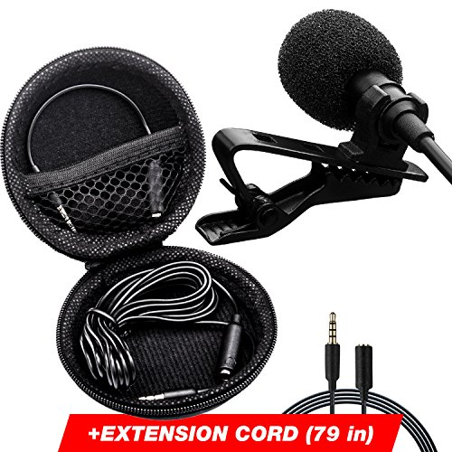 Wired Microphone System (Lavalier Microphone - Podcast Microphone - Lapel Microphone - IPhone Microphone - Lapel Mic for - Youtube - Interview - Vlog - Voice Dictation - Speech - with Easy Clip-On System - Long Cord 79x2 inch)