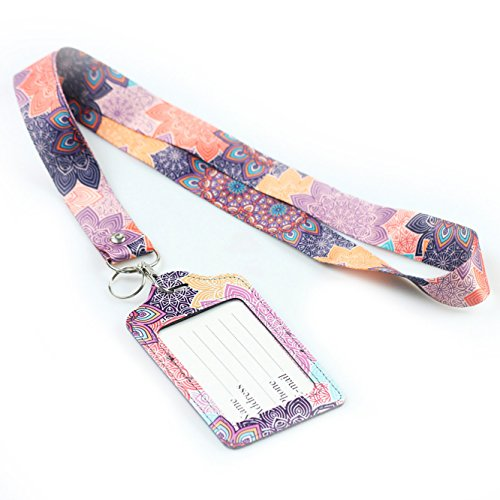 Badge Holder Strap (Lanyard With ID Holder, Lizimandu PU Leather Slim Credit Card Holder ID Card Badge Case Holder Useful Purse with Neck Strap(Colorful_Flower))