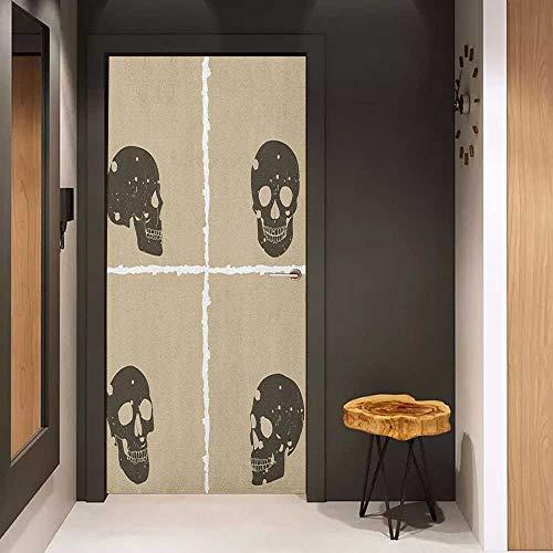 Onefzc Front Door Sticker Grunge Skull Figure on Murky Flat Framework Halloween Crossbones Spooky Monster Image for Home Decor W31 x H79 Tan Dark Taupe