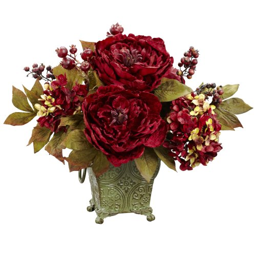 Nearly Natural 4928 Peony and Hydrangea Silk Flower Arrangement, Red Red Floral Arrangement