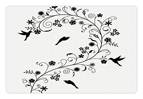 Flora Swirl (Black and White Pet Mats for Food and Water by Ambesonne, Victorian Curves Swirls with Bird Silhouettes Monochrome Flora and Fauna, Rectangle Non-Slip Rubber Mat for Dogs and Cats, Black White)