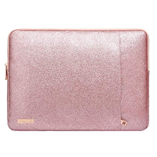 (MOSISO Laptop Sleeve Compatible 13-13.3 Inch MacBook Pro Retina/MacBook Air/Surface Laptop 2 2018 2017/Surface Book, PU Leather Vertical Style Super Padded Bag Waterproof Case, Shining Rose Gold)