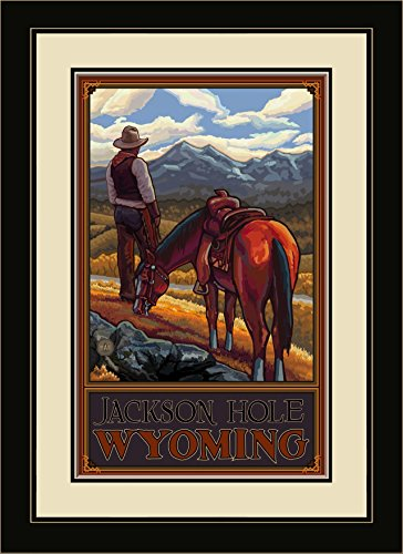 Northwest Art Mall PAL-4926 MFGDM COR Jackson Hole Wyoming Cowboy On Range Framed Wall Art by Artist Paul A. Lanquist, 13 x 16 (Jackson Shopping Mall)