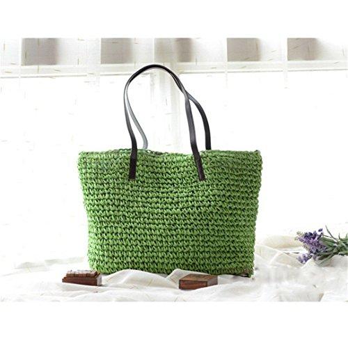 Summer Women Durable Weave Straw Beach Bag Feminine Linen Woven Bucket Bag Grass Casual Tote Handbags Knitting Rattan Bags Hobos green