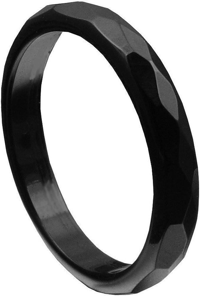 Anillo de ónix negro facetado Onyx Anillo para mujer piedra anillo 3mm estrecho ultrafina, tamaño de anillo: Interior Del EnvÍO 56mm ~ ø17.8mm