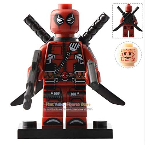 Super War Deadpool Minifigure 2 Face Action Figure with Extra Weapons and Base Plate